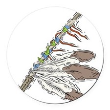 indian feather peace pipe copy.jpg Round Car Magne