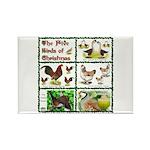 Christmas Birds Rectangle Magnet (100 pack)