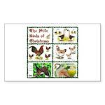 Christmas Birds Rectangle Sticker