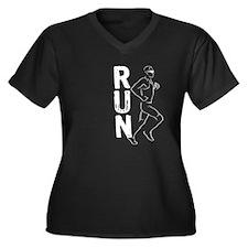 RUN Man Women's Plus Size V-Neck Dark T-Shirt