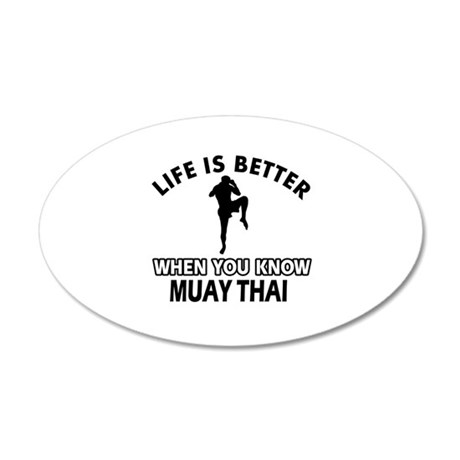 Muay Thai Vector designs 20x12 Oval Wall Decal