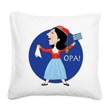 Greek Lady Dancing Square Canvas Pillow