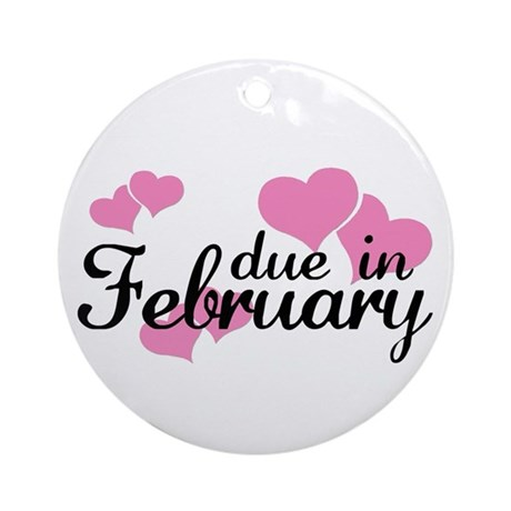 Due In February Hearts Ornament (Round)
