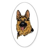 Black & Tan German Shepherd face Oval Decal