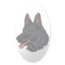 Black German Shepherd face Oval Decal
