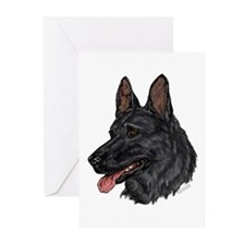 Black German Shepherd face cards (Pkg. of 6)