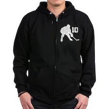 Hockey Player Number 10 Zip Hoodie