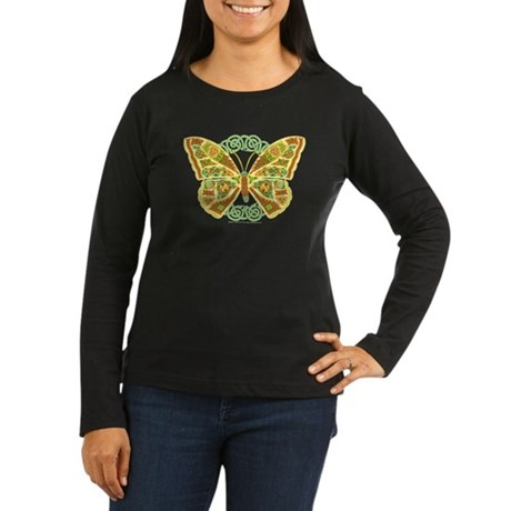 Celtic Butterfly Women's Long Sleeve Dark T-Shirt