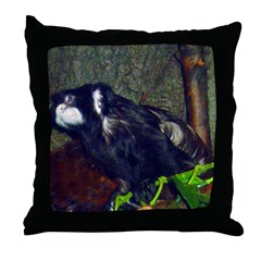 mustached tamarin Throw Pillow
