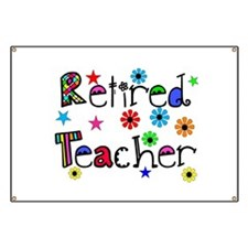 retired teacher stars flowers Banner