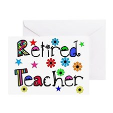 retired teacher stars flowers Greeting Card