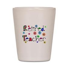 retired teacher stars flowers Shot Glass