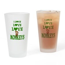Love Love Monkeys Drinking Glass