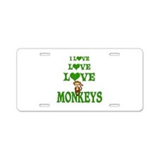 Love Love Monkeys Aluminum License Plate