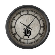 Gothic Initial H Large Wall Clock