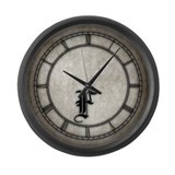 Gothic Initial F Large Wall Clock