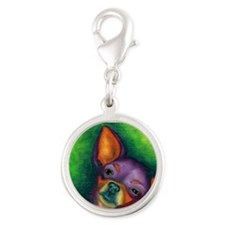 Lazy Chihuahua Silver Round Charm