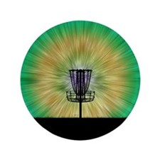 "Tie Dye Disc Golf Basket 3.5"" Button"