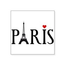 Paris with Eiffel tower and red heart Square Stick