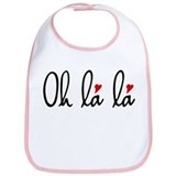 Oh la la, French word art with red hearts Bib