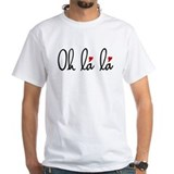 Oh la la, French word art with red hearts T-Shirt
