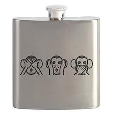 Three Wise Monkeys Emoji Flask