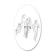 Triathlon Woman 20x12 Oval Wall Decal
