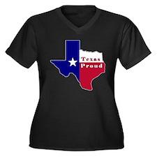Texas Proud Flag Map Women's Plus Size V-Neck Dark