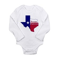 Texas Forever Flag Map Long Sleeve Infant Bodysuit