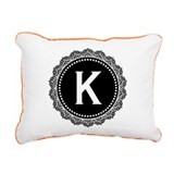 Monogram Medallion K Rectangular Canvas Pillow
