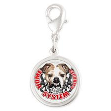 Bulldog Security System Silver Round Charm
