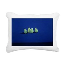Pears on a Blue Cloth - Rectangular Canvas Pillow