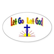 Let Go Let God Oval Stickers