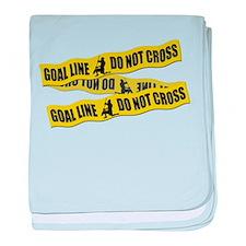 Lacrosse Goalie Crime Tape baby blanket