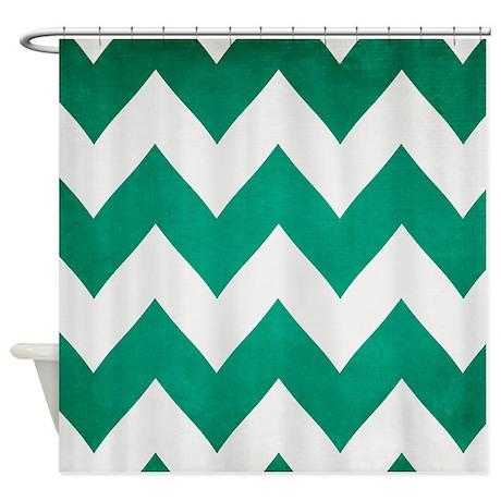 2013 Emerald Green Chevron Shower Curtain By Cherokeerosemade