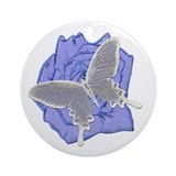 Butterfly Blue Rose Round Ornament