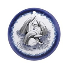 Three Laughing Dolphins (W/ Blue) Ornament