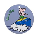 Cartoon Surfer Piggy Ornament (Round)