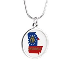 Georgia Flag Silver Round Necklace