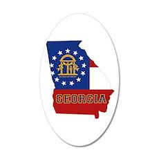 Georgia Flag 20x12 Oval Wall Decal