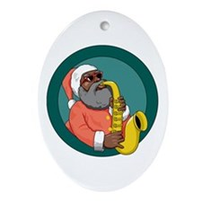 Santa Sax Oval Ornament