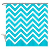 'Blue Zigzag' Shower Curtain