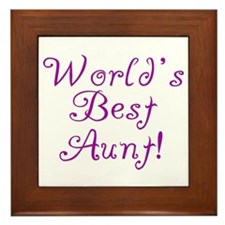 World's Best Aunt! - Purple Framed Tile