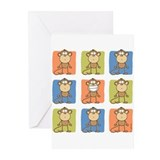 9 Monkeys Greeting Cards (Pk of 10)