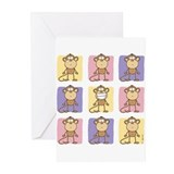 9 Monkeys Pastel Greeting Cards (Pk of 10)