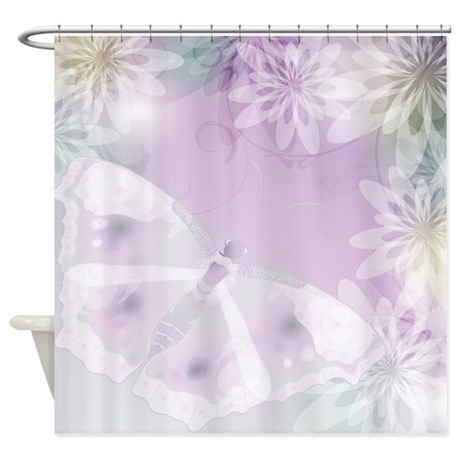 white butterfly floral shower curtain by getyergoat