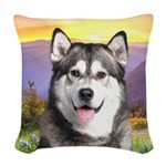 Malamute Meadow Woven Throw Pillow