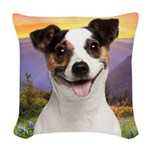 Jack Russell Meadow Woven Throw Pillow