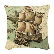 Ancient Map Woven Throw Pillow