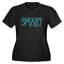 Smart In Here Women's Plus Size V-Neck Dark T-Shir